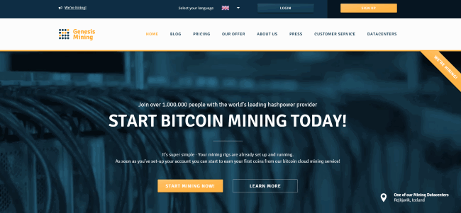 Genesis Mining Review print screen