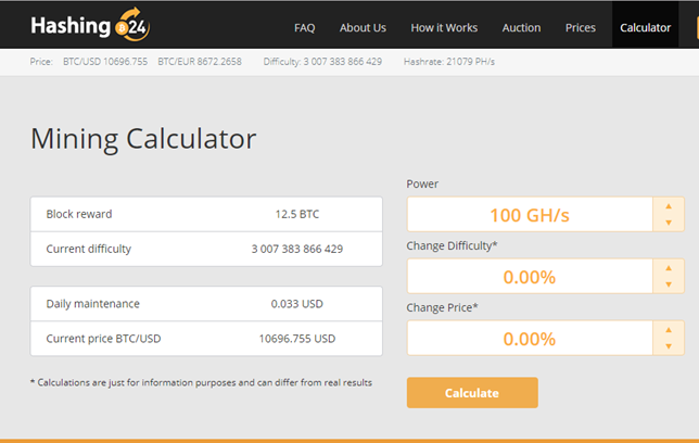 Hashing24 Review Mining Calculator