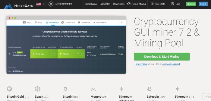 Minergate review print screen