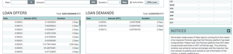 Lending as option to cloud mining poloniex screen shot